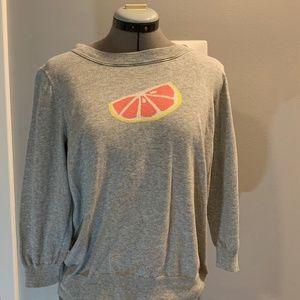 J Crew Grey, Grapefruit, 3/4 Sleeve Sweater, Large